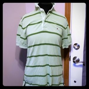 Tommy hilfiger striped green polo size small